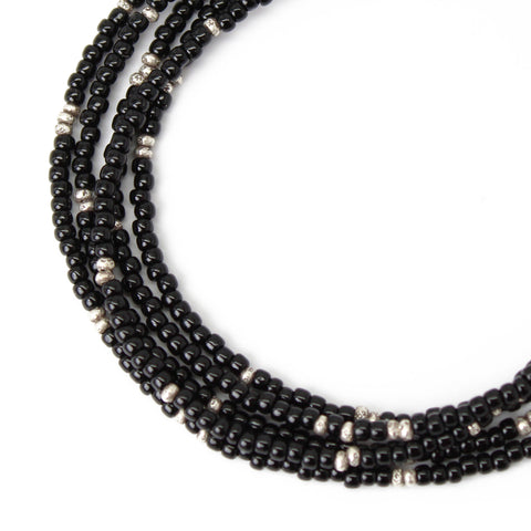 Black Seed Bead Necklace with Fine Silver Beads-Single Strand-11/0 Beads