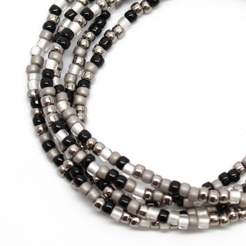 Black Silver & White Seed Bead Necklace-Single Strand