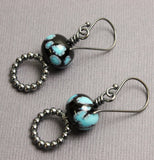 Black and Turquoise Blue Bead Earrings with Sterling Hoops