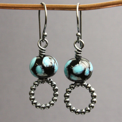 Black and Blue Bead Earrings with Sterling Hoops