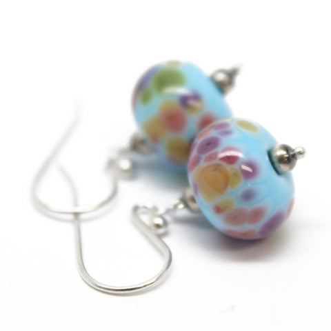 Blue and Pink Lampwork Bead Earrings with Sterling Silver Ear Wires