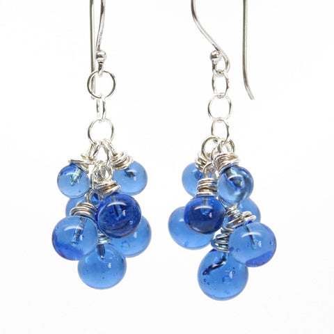 Blue Glass Cluster Earrings in Sterling Silver