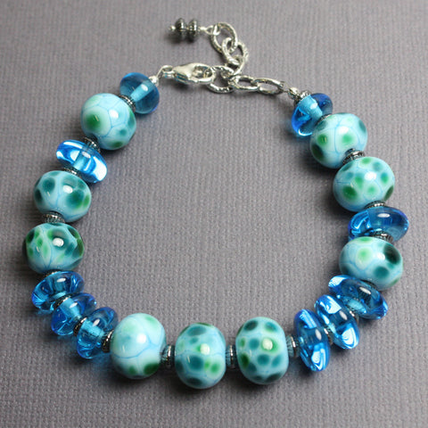 Blue Green Lampwork Bead Bracelet in Sterling Silver