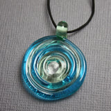 Aqua Blue and Green Lampwork Glass Pendent