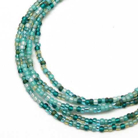 Blue Green Seed Bead Necklace, Single Strand