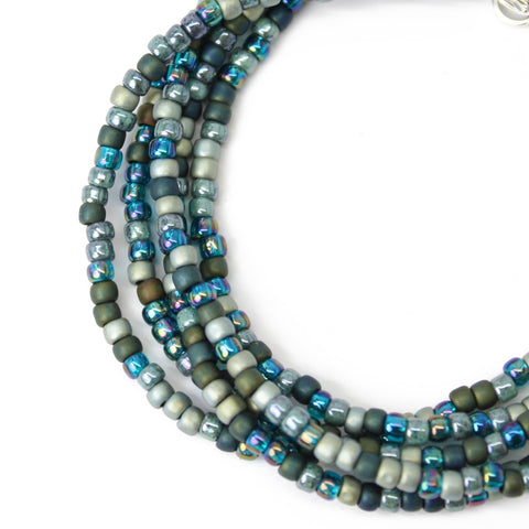Green Blue Seed Bead Necklace-Multi Color-Single Strand