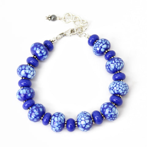 Blue and White Lampwork Bead Bracelet