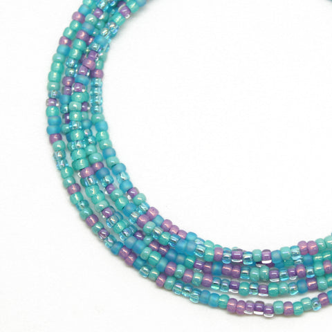 Blue and Pink Seed Bead Necklace, Single Strand