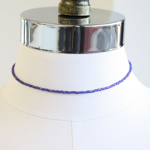 "Tiny Blue Purple Choker Necklace-Single Strand, Adj 14""-15"""