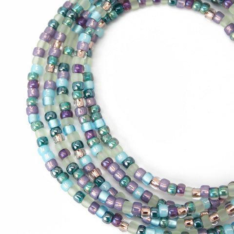 Blue Purple Seed Bead Necklace-Single Strand