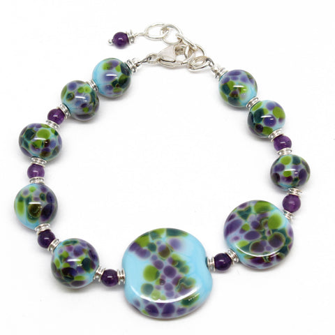 Blue Purple and Green Lampwork Bracelet