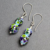 Handmade Blue, Purple, and Green Lampwork Bead Earrings