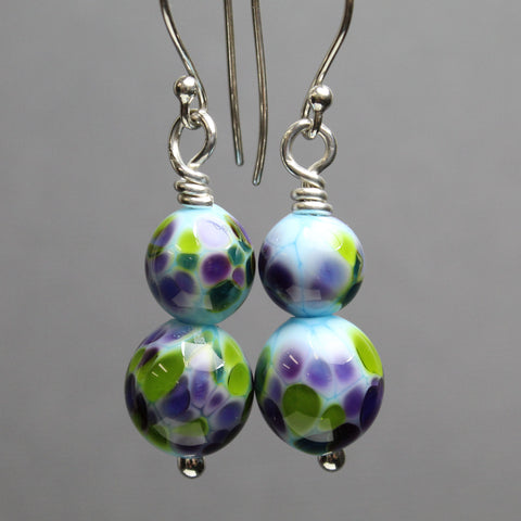 Blue, Purple, and Green Lampwork Bead Earrings