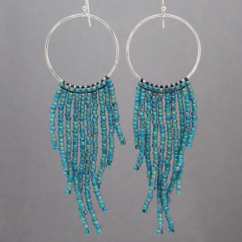 Teal Seed Bead Fringe Earrings