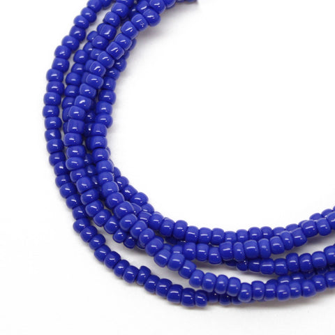 Blue Seed Bead Necklace, Navy Blue, Single Strand