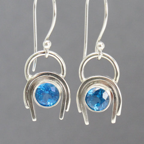 Handmade Blue Topaz Dangle Earrings in Sterling Silver
