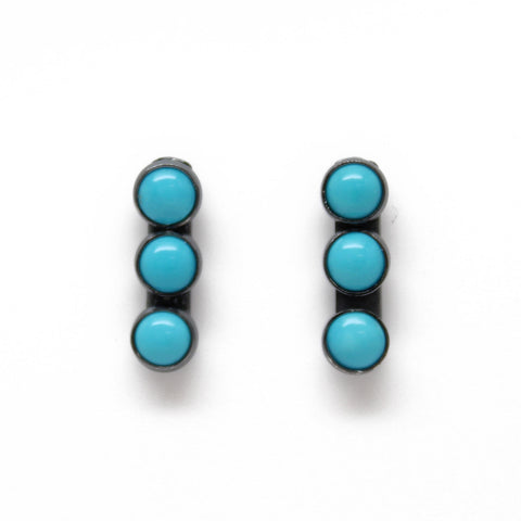 Turquoise Stud Drop Earrings-Blue-4mm all Sterling Silver