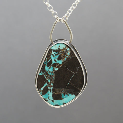 Blue Turquoise with Black Matrix Pendant in Sterling Silver