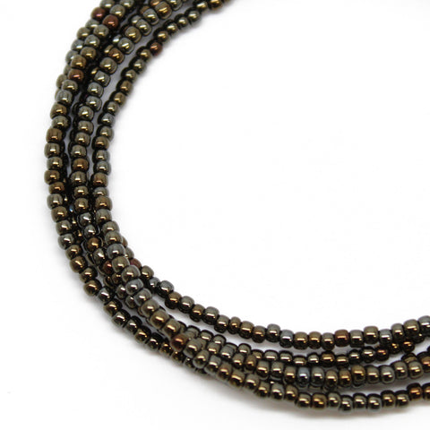 Bronze Seed Bead Necklace-Shiny Metallic-Single Strand
