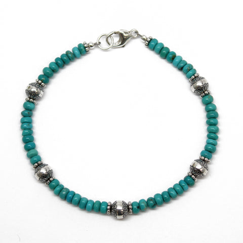 Campitos Turquoise and Sterling Silver Bead Bracelet, 7.25 Inches