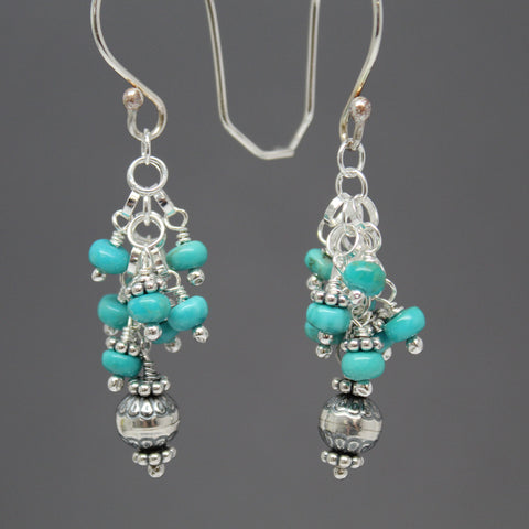Campitos Turquoise Cluster Earrings in Sterling Silver