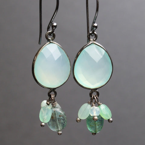 Aqua Chalcedony Gemstone Earrings with Green Tanzanite, Chrysoprase, and Emeralds