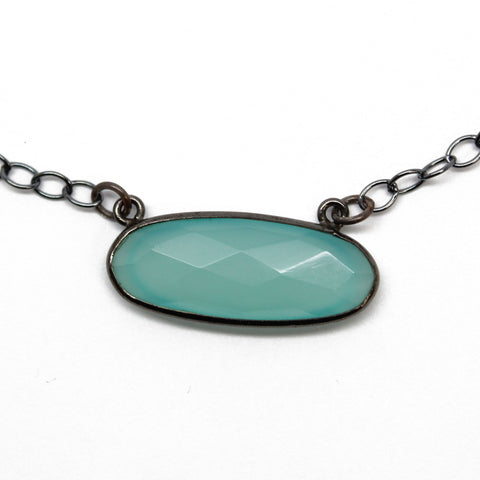 Aqua Chalcedony Necklace in Black Gold and Sterling Silver, 16 Inches