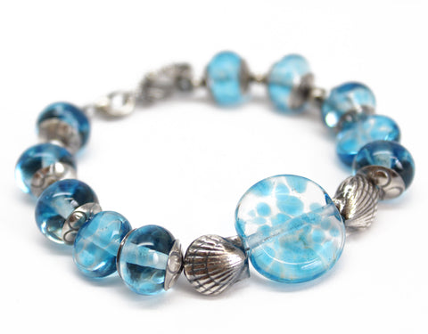 Blue Beaded Bracelet with Sterling Silver Shells
