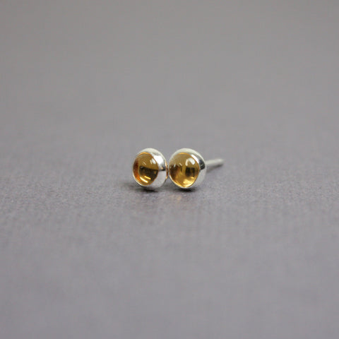Citrine Stud Earrings-4mm Sterling Silver
