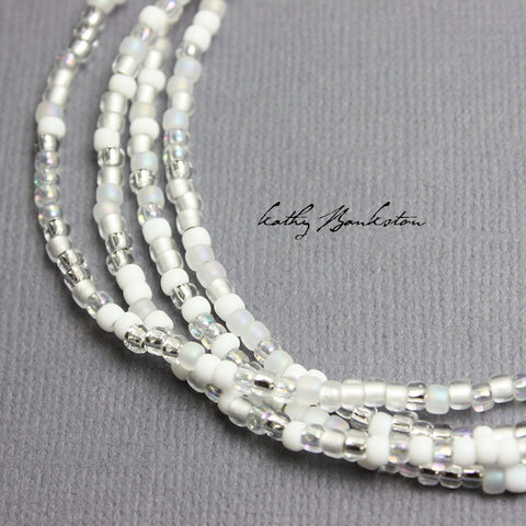 Classic Wedding White Seed Bead Necklace