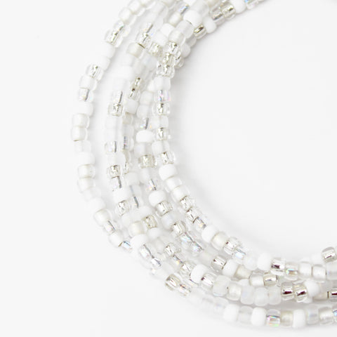 White Seed Bead Necklace-Classic Wedding White-Single Strand
