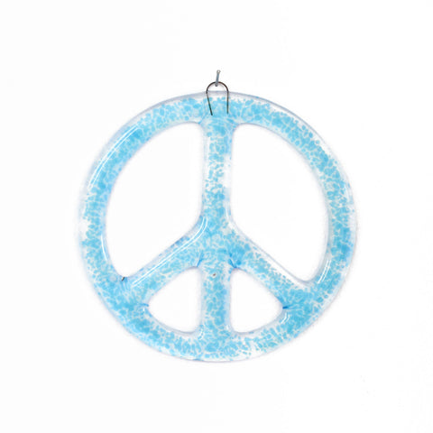 "Blue Fused Glass Peace Sign-6 1/8""- Sun Catcher"
