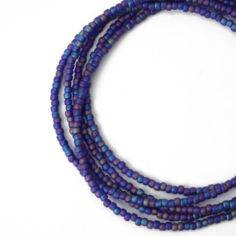 Blue Purple Seed Bead Necklace-Multi Color Blue -Single Strand 11/0