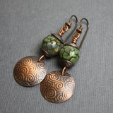 Green Czech Bead & Domed Copper Disk Earrings