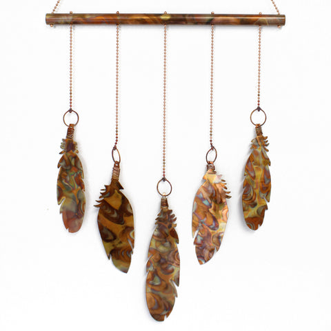 Copper Feather Wind Chime, Copper Hanging Mobile