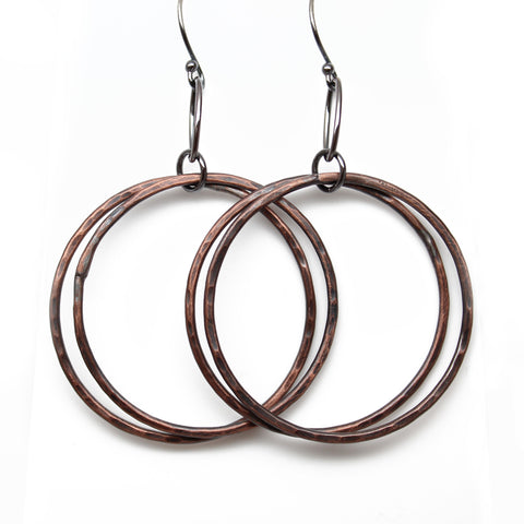 Copper Hoop Earrings with Sterling Silver Ear Wires