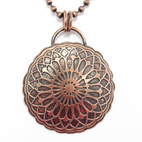 Copper Mandala Pendant Necklace