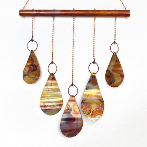 Copper Teardrop Wind Chime, Copper Hanging Mobile