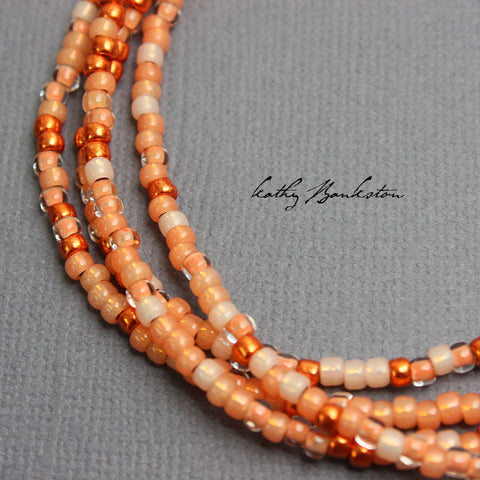 Coral Seed Bead Necklace