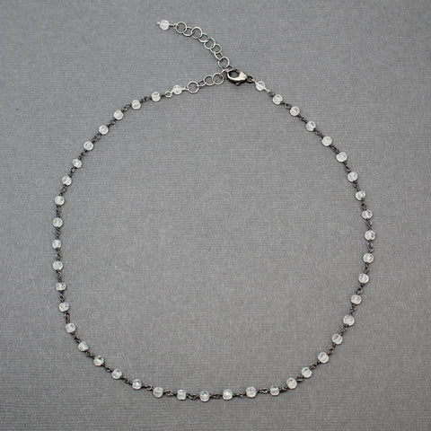 Crystal Quartz Choker, Adjustable 15 to 17 Inches
