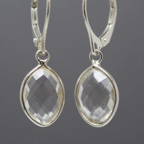 Crystal Quartz Dangle Earrings in Sterling Silver Lever Backs
