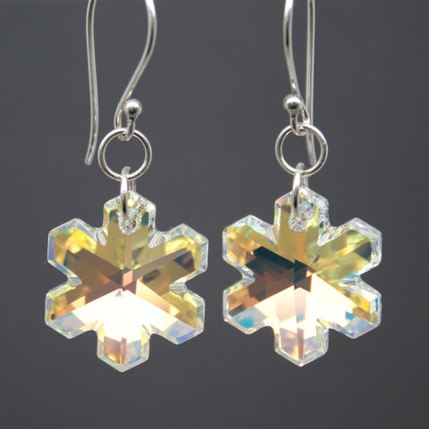 Swarovski® Crystal Snowflake Earrings in Sterling Silver
