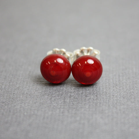 Dark Red Fused Glass Stud Earrings in Sterling Silver