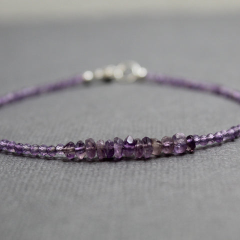 Dainty Amethyst Bracelet with Sterling Silver Clasp, 7.5 Inches