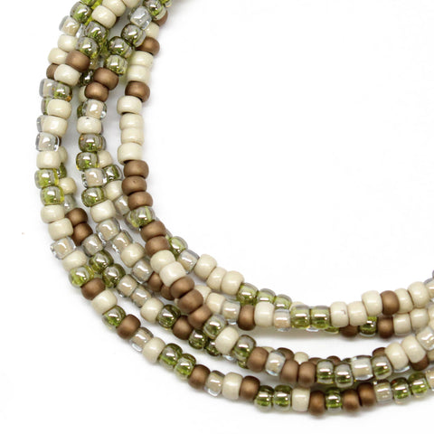 Multi Color Brown Earth Tones Seed Bead Necklace, Single Strand