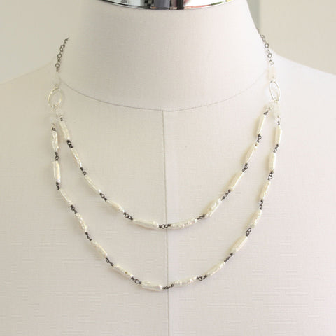 "Biwa Pearl Necklace in Sterling Silver-Double Strand-28"" L"