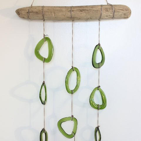 Green Fused Glass and Driftwood Mobile