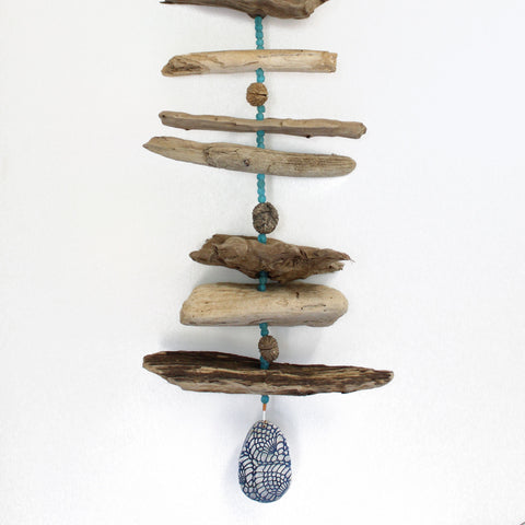 Driftwood Mobile with Blue Glass Beads, 36 Inches Long