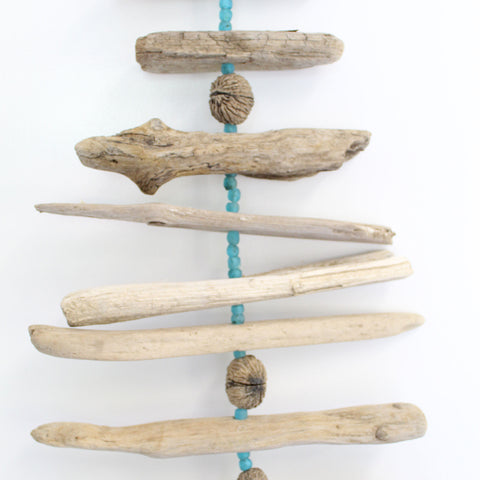 Driftwood Mobile with Shells and Beads, 37 Inches Long