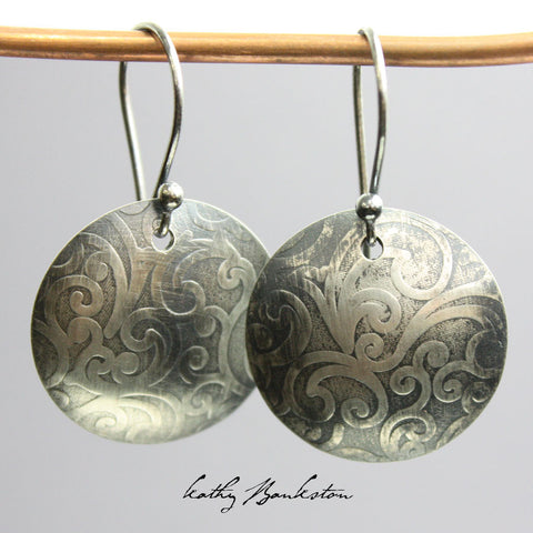 Embossed Silver Earrings